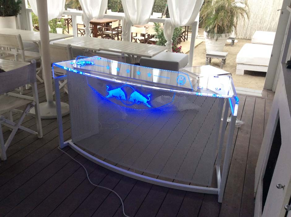 consolle deejay trasparente luminosa luci a led plexiglass